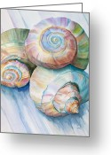 Whorl Greeting Cards - Balance in Spirals Watercolor Painting Greeting Card by Michelle Wiarda