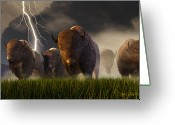 Bison Greeting Cards - Balance of Power Greeting Card by Dieter Carlton