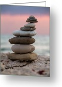 Stack Rock Greeting Cards - Balance Greeting Card by Stylianos Kleanthous