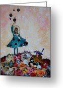 Puzzle Greeting Cards - Balancing Act Greeting Card by Sharon Cummings