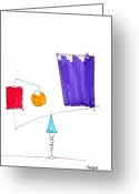Marker Paper Drawings Greeting Cards - Balancing Act Greeting Card by Teddy Campagna