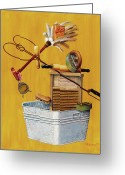 Ironing Painting Greeting Cards - Balancing Daily Chores Greeting Card by Bob Newman