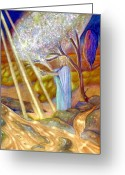 Crayon Painting Greeting Cards - Balancing Energy Greeting Card by Jane Tripp