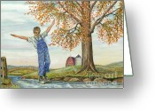 Overalls Greeting Cards - Balancing On a Stone Greeting Card by Samuel Showman