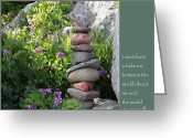 Buddhist Greeting Cards - Balancing Stones with Tao Quote Greeting Card by Heidi Hermes