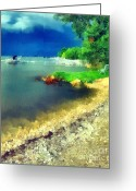 Blue_tit Greeting Cards - Balaton lake shore Greeting Card by Odon Czintos