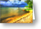 Blue_tit Greeting Cards - Balaton shore Greeting Card by Odon Czintos