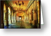 Portico Greeting Cards - Balboa Corridor Greeting Card by Tammy Wetzel