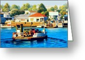 Woody Wagon Greeting Cards - Balboa Island Ferry Greeting Card by Frank Dalton
