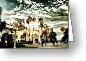 Clouds Pyrography Greeting Cards - Balboa Park Greeting Card by Frank Garciarubio