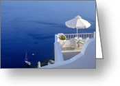 Greece Greeting Cards - Balcony Over The Sea Greeting Card by Joana Kruse