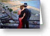 Dames Greeting Cards - Balcony With A View Greeting Card by Theo Michael