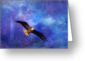 Bald Eagle Digital Art Greeting Cards - Bald Eagle Bringing A Fish Greeting Card by J Larry Walker