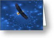 Reelfoot Lake Greeting Cards - Bald Eagle Soaring Through Space Greeting Card by J Larry Walker