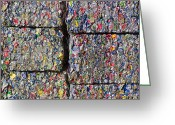 Bales Greeting Cards - Bales of Aluminum Cans Greeting Card by David Buffington