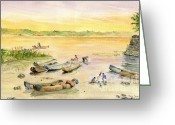Melly Terpening Greeting Cards - Bali Fishing Village Greeting Card by Melly Terpening