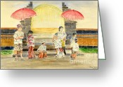 Melly Terpening Greeting Cards - Balinese Children in Traditional Clothing Greeting Card by Melly Terpening