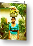 Islands Digital Art Greeting Cards - Balinese Woman Greeting Card by Kurt Van Wagner