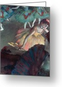 Stage Pastels Greeting Cards - Ballerina and Lady with a Fan Greeting Card by Edgar Degas