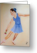 Portraits Greeting Cards - Ballerina Blue Greeting Card by Joni M McPherson