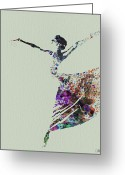 Ballet Art Greeting Cards - Ballerina dancing watercolor Greeting Card by Irina  March
