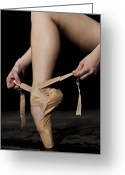 Tying Shoe Greeting Cards - Ballerina Foot And Leg S She Ties Point Shoes Greeting Card by Nisian Hughes
