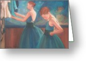 Stage Pastels Greeting Cards - Ballerinas in Blue Backstage Greeting Card by Diane Caudle