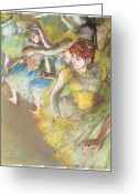 Stage Pastels Greeting Cards - Ballet Dancers on the Stage Greeting Card by Edgar Degas