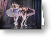 Stage Pastels Greeting Cards - Ballet Dancers Warming Up Greeting Card by Paul Mitchell