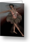 Steampunk Digital Art Greeting Cards - Ballet in Motion Greeting Card by  Anjie Conway