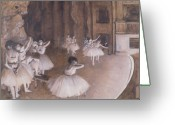 Rehearsal Greeting Cards - Ballet Rehearsal on the Stage Greeting Card by Edgar Degas