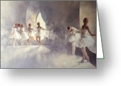 Dancers Greeting Cards - Ballet Studio  Greeting Card by Peter Miller