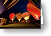 Balloon Fest Greeting Cards - Ballons at Night Greeting Card by David Hahn