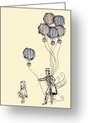 Hot Air Balloon Mixed Media Greeting Cards - Ballons for Sale Greeting Card by William Addison
