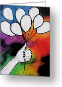 Illustrative Greeting Cards - Balloon Canvas Greeting Card by Sarah Stonehouse