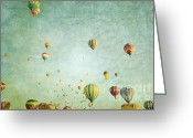 Baby Room Greeting Cards - Balloon Fantasy Greeting Card by Andrea Hazel Ihlefeld
