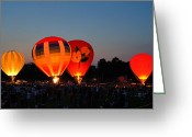 Balloon Fest Greeting Cards - Balloon Glow 1 Greeting Card by Bill Pevlor