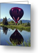 Balloon Festival Greeting Cards - Balloon Reflection Greeting Card by Leland Howard
