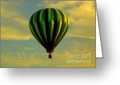 Balloon Fest Greeting Cards - Balloon Ride Through Gold Clouds Greeting Card by Robert Frederick