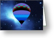 Hot Air Balloon Mixed Media Greeting Cards - Ballooning by Stars Greeting Card by Asok Mukhopadhyay