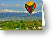 Lafayette Greeting Cards - Ballooning Over The Rockies Greeting Card by Scott Mahon