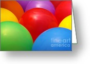 Filled Greeting Cards - Balloons Background Greeting Card by Carlos Caetano