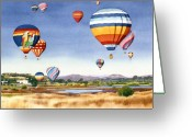 Manchester Greeting Cards - Balloons over San Elijo Lagoon Encinitas Greeting Card by Mary Helmreich