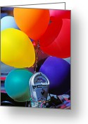 Parking Greeting Cards - Balloons tied to parking meter Greeting Card by Garry Gay