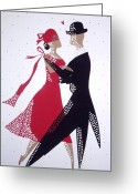 Tuxedo Mixed Media Greeting Cards - Ballroom Dancers 1 Greeting Card by Grace Sivels