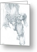 Third Age Greeting Cards - Balrog Sketch Greeting Card by Curtiss Shaffer