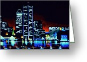 Skylines Painting Greeting Cards - Baltimore by black light Greeting Card by Thomas Kolendra