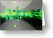 Glowing Moon Greeting Cards - Baltimore Greeting Card by Jason Allen