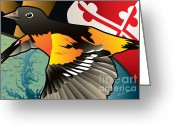 Oriole Digital Art Greeting Cards - Baltimore Oriole Greeting Card by Joe Barsin