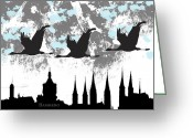 Bamberg Greeting Cards - Bamberg Silhouette Greeting Card by Rosi Lorz